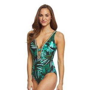 /Jantzen/ palm leaf plunge swimsuit